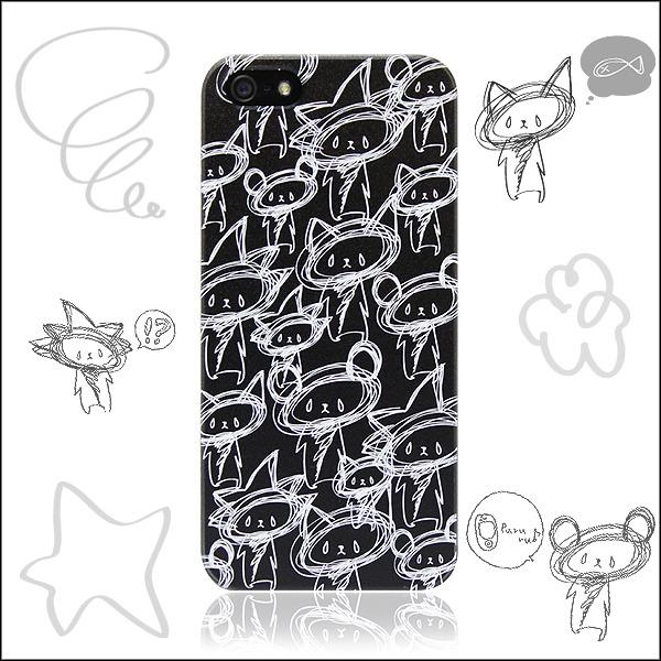 もふ・ネコ・くまmixケース(黒) iphone Android各種