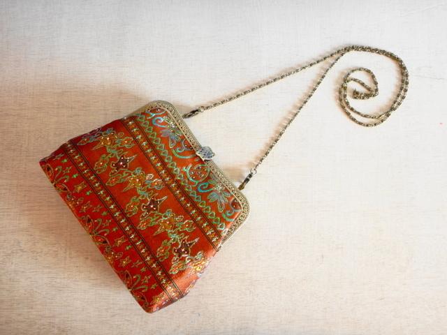 チュニジア布の2wayバッグ(サハラの宴 オレンジ)