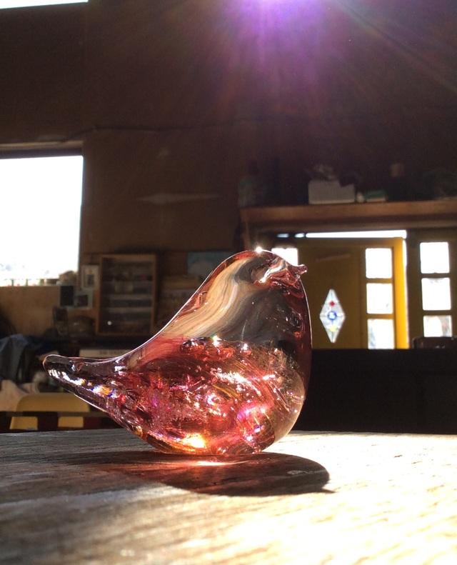 ダークピンク×ゴールドトパーズの小鳥 A