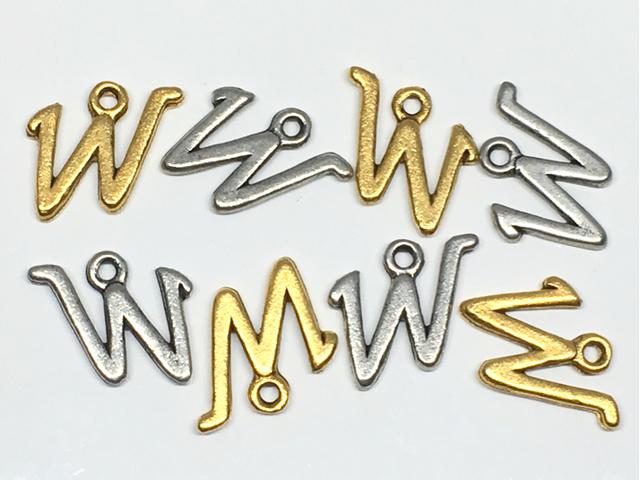 チャーム:アルファベット「W」/金古&銀古:各4コ(計8コ入)
