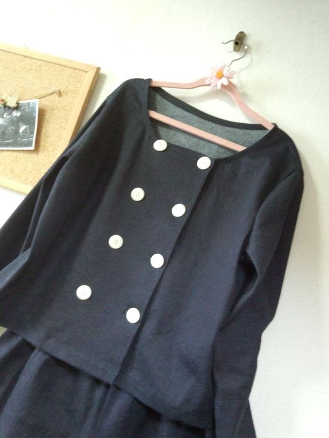 Lサイズ 濃紺のデニムのジャケットとワイドパンツのスーツ