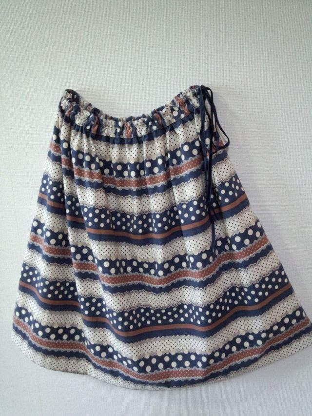 フリーサイズ おしゃれなボーダー柄のスカート