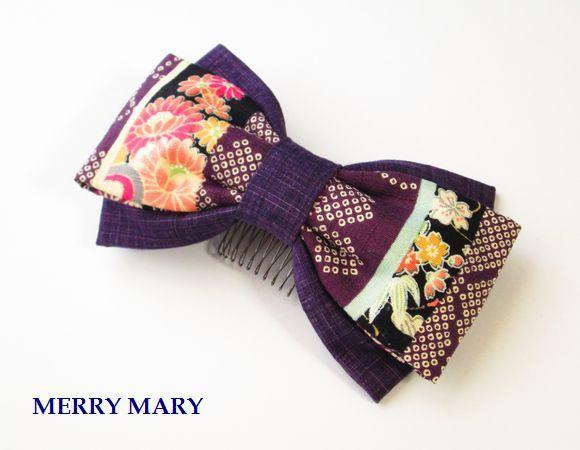 乙女りぼん かんざし <紫/菊・桜> 【送料無料】