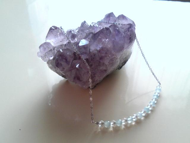 アクアマリンと水晶のネックレス