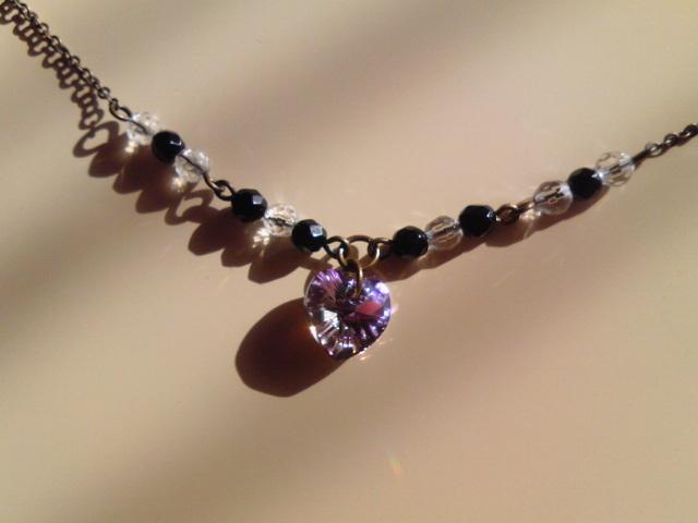 ハートと天然石のネックレス