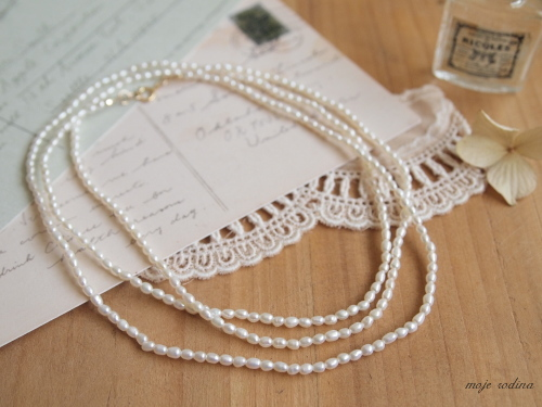 Rice pearl long necklace