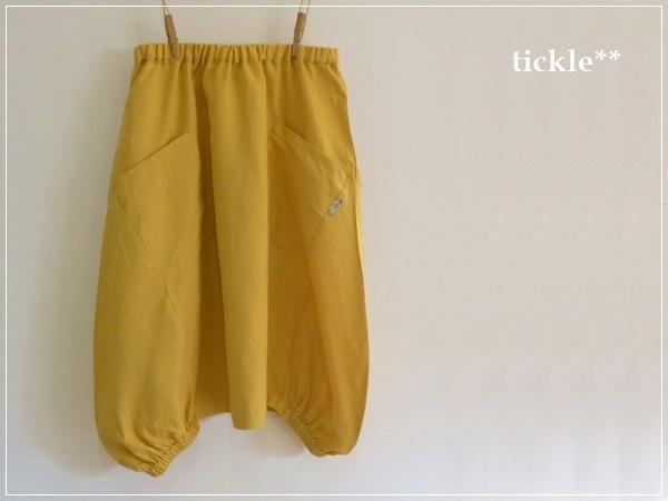 yellow* ヘムライン リネンバルーンスカート+リバティ