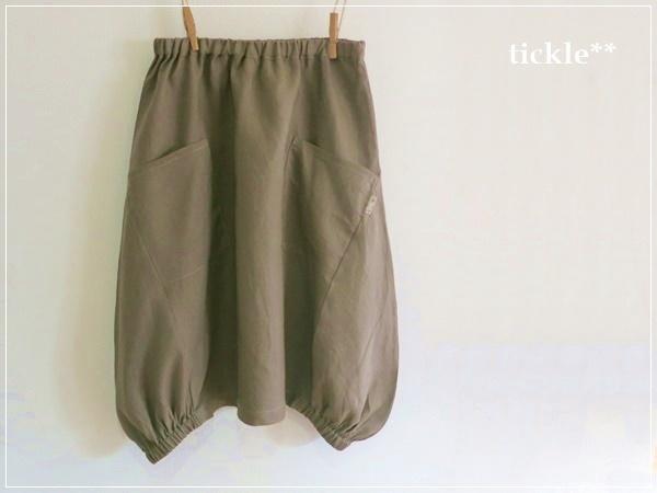 pale brown* ヘムライン リネンバルーンスカート+リバティ
