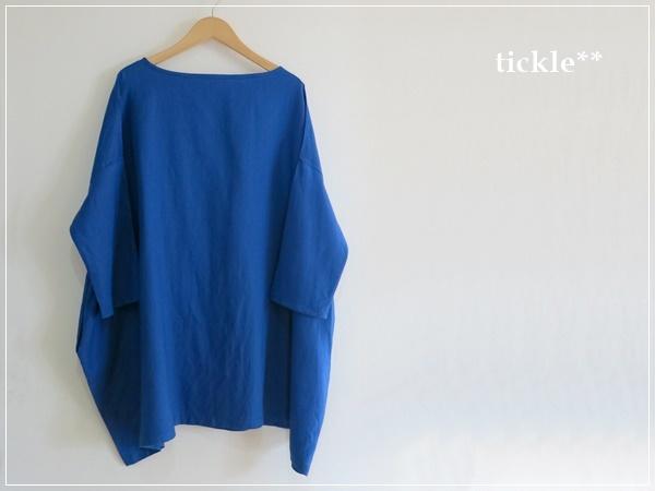 royal blue* リネンのサイドポケットチュニック