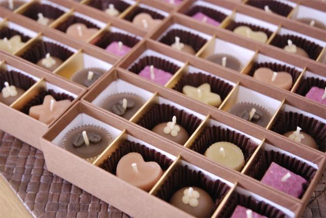 チョコレートキャンドル:ミツロウキャンドルakarizm