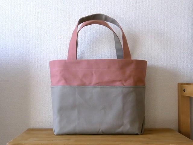 「bicolor tote M」 pink×gray