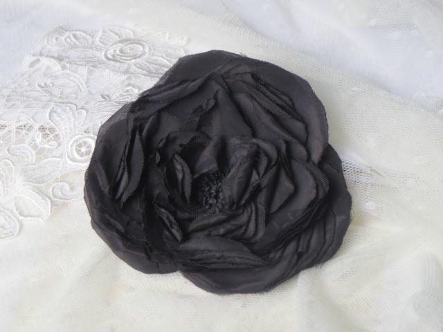 送料無料 黒薔薇のコサージュ(2way)