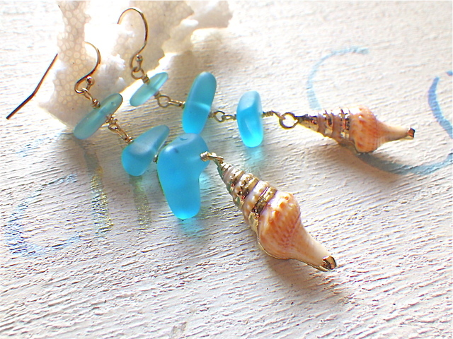 ☆再販☆ Sea glass & Seashells II ピアス14kgf/イヤリング