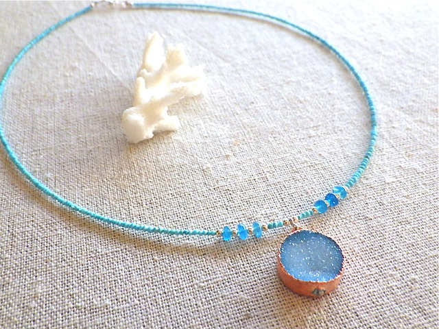 Turquoise and Druzy Ocean