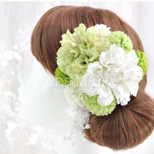 ナチュラルカラーダリアの髪飾り