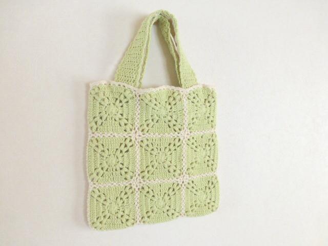 モチーフ編みbag   ライトグリーン