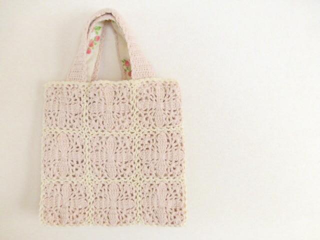 モチーフ編みbag   イチゴ柄