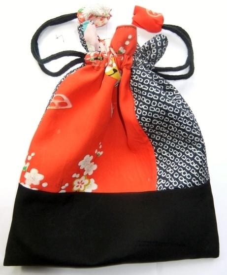 絞りの羽織と女の子の着物で作った巾着袋 1151
