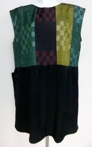 銘仙と黒の羽織で作ったジャンバースカート 1155