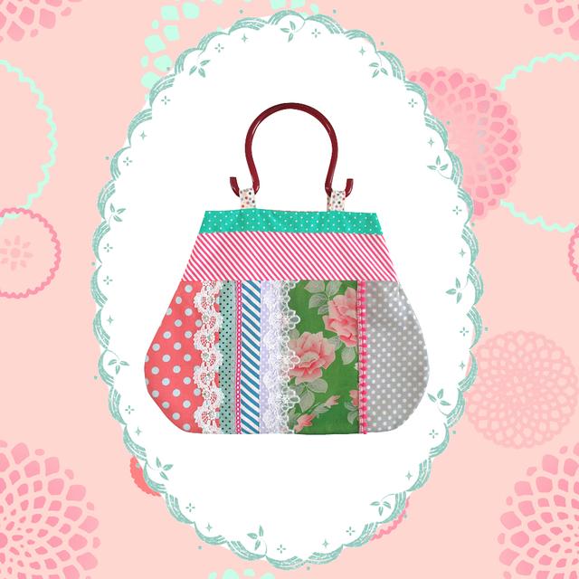 アンティーク着物おむすび型バッグ花レトロ
