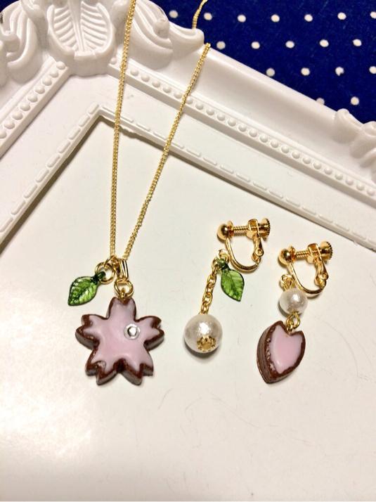 舞桜 〜ネックレス&イヤリングセット〜