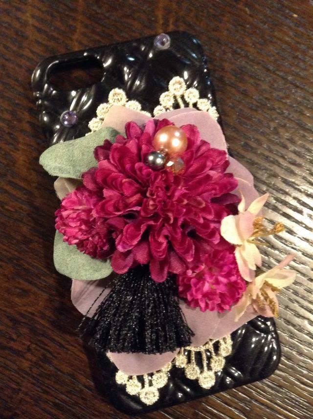 お花のiPhoneカバー(ローズピンク)