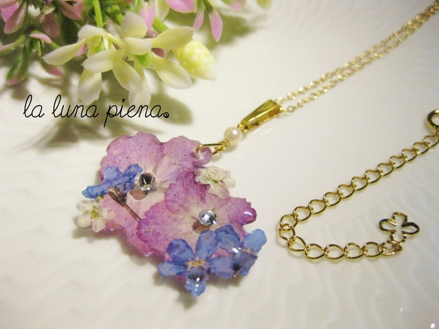 ◇k14gf◇ 勿忘草と紫陽花の小さな花束ネックレス(アジャスター付き)