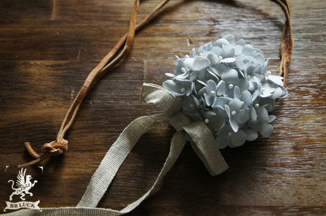 kohakoさま order made * corsage 【 ちいさな紫陽花とリボンのコサージュ* blue gray 】