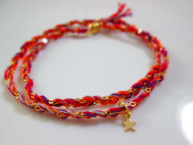 《送料無料》静電気除去ブレスレット 赤×紫×オレンジ
