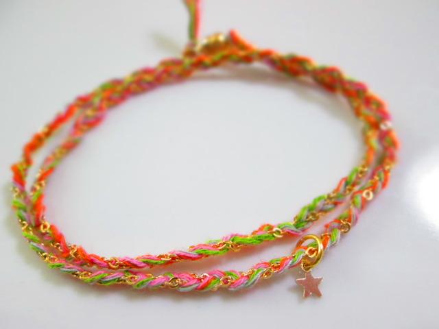 《送料無料》静電気除去ブレスレット ピンク×黄緑×オレンジ