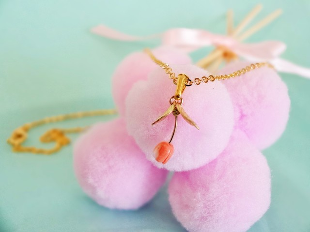 Pink coral Tulip Necklace