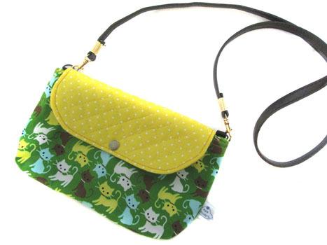 横ながポシェット★黄・緑ねこちゃん&黄ドット