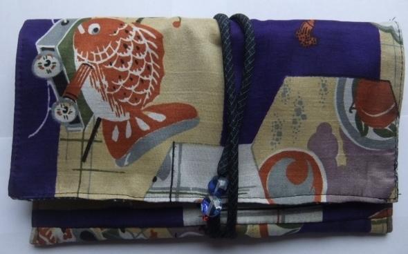 着物リメイク 男の子のお宮参り着で作った和風財布 1159