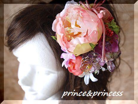 ピンク牡丹の和飾り