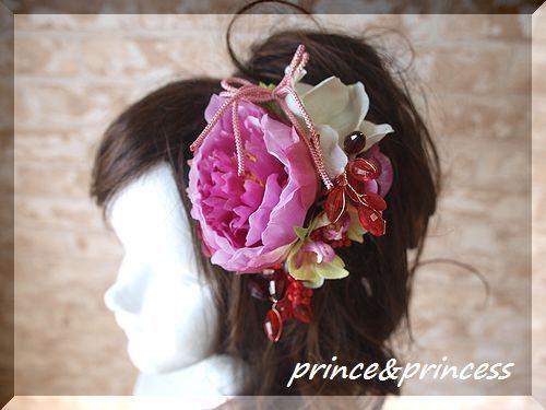 紫牡丹の和飾り*髪飾り*