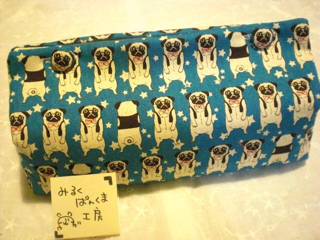 ティッシュカバー ぶちゃ犬 ブルー ちょっと大きめ箱用