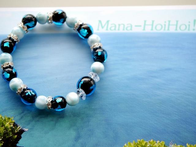 AAAラリマー&深い青色のトンボ玉(ガラス玉) 〜南国の海ブレス〜 Mana-HoiHoi!オリジナル パワーストーンブレスレット ★SOLD OUT☆