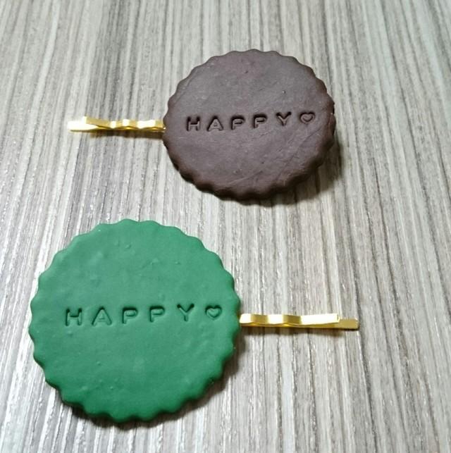 送料無料☆クッキー風 ヘアピン(抹茶味とチョコレート味)