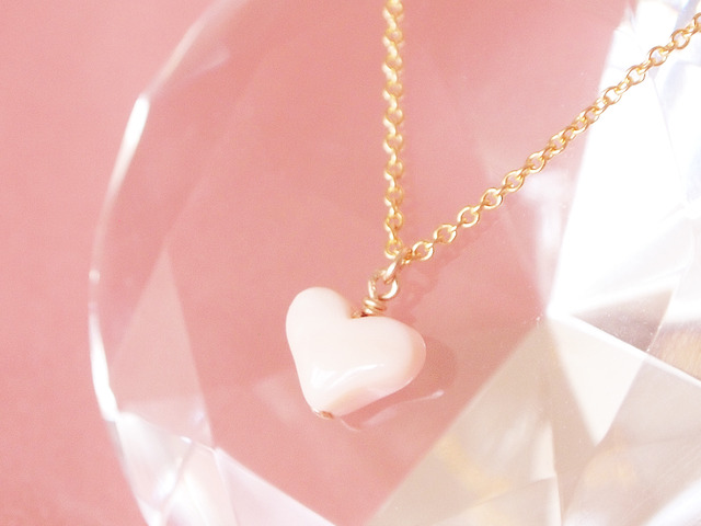 14KGF Pink Heart Necklace 【30%OFF】