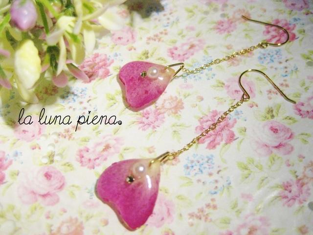 ◇k14gf◇ 薔薇の雫ピアス pink