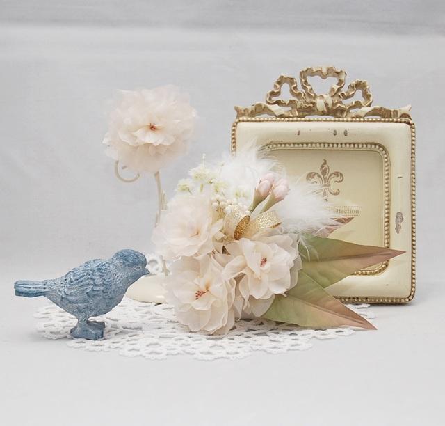 [受注制作]八重桜のコサージュとブローチのセット〜Angels smile〜