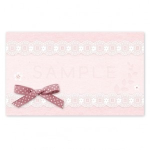 (MC17)〈メッセージカード&シール〉水玉リボンとお花レース《ピンク01》  A4サイズ