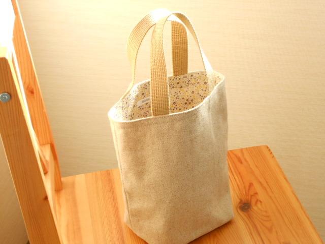 ☆特価☆ベージュの綿麻シンプルトートバッグ(小花)