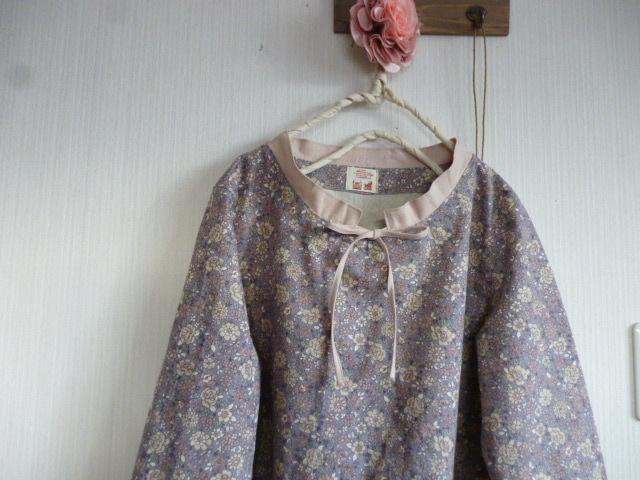 YUWA綿麻花柄のAラインスタンドカラーワンピ
