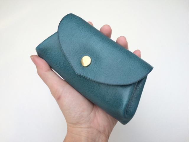 【即納品可能】イタリアンレザー*コロコロ財布 「fave」ターコイズ