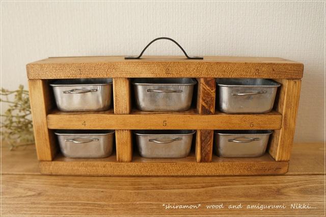 C様リクエスト品 木枠の鏡自立型 と 小物入れ6マス