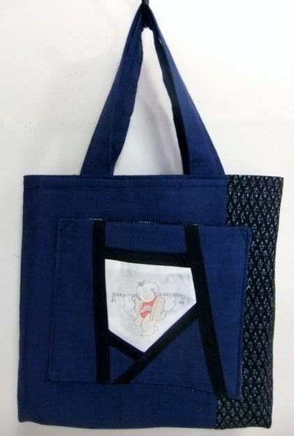 着物リメイク 男絣と藍で作った手提げ袋 1173