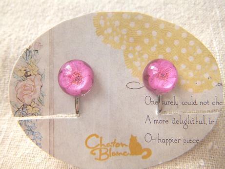 ピンクのお花のイヤリング