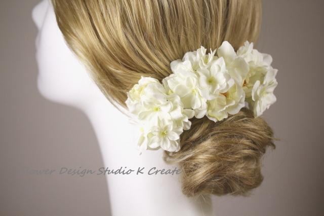 野薔薇と白い八重の紫陽花のUピン(L:3本セット)