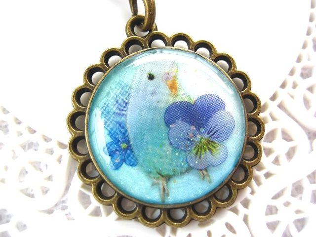 青セキセイとお花のストラップ_309 s6 16p